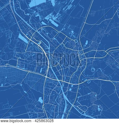 Detailed Map Of Utrecht City Administrative Area. Cityscape Panorama. Decorative Graphic Tourist Map
