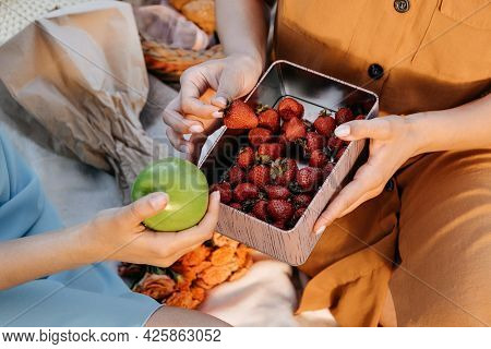 Summer Vegan Vegetarian Picnic Food, Lunch Meal Outdoors In Park. Picnic In Summer With Strawberries