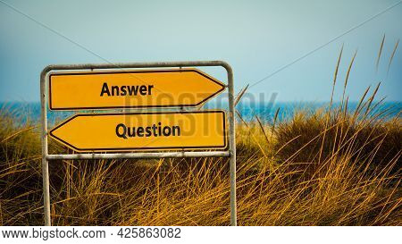 Street Sign The Direction Way To Answer Versus Question