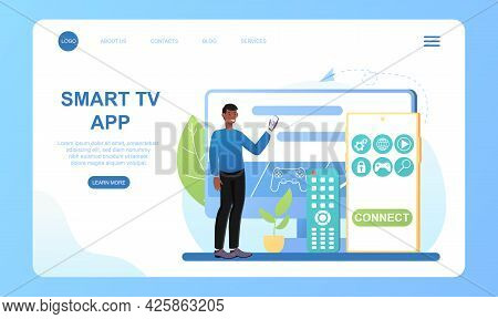 Male Character Is Using Smart Tv On Big Display. Concept Of Smart Tv Technology, Internet Tv, Online
