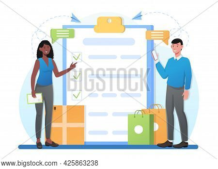 Male And Female Characters Are Filling In Shopping Checklist Together. Concept Of International Deli
