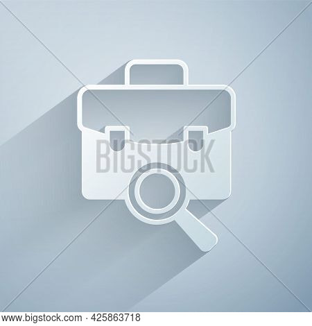 Paper Cut Magnifying Glass With Briefcase Icon Isolated On Grey Background. Job Hunting. Work Search