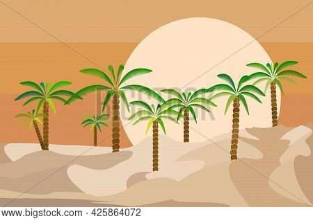 Desert Landscape With Palm Trees And Sun Setting On The Horizon. Flat Vector Illustration