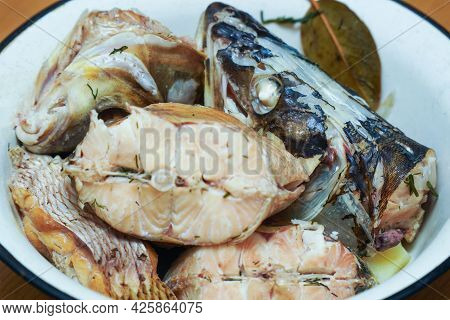 Pieces Of Boiled Fish Pike In A Plate That Look Natural