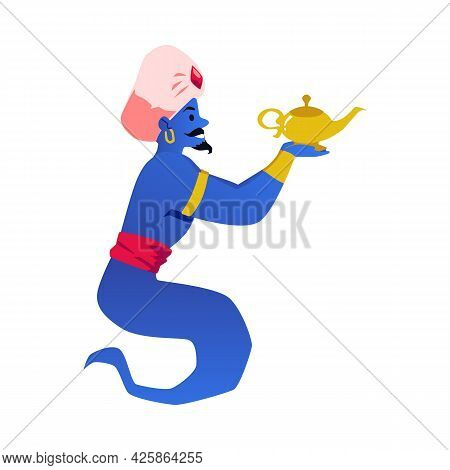 Cartoon Magical Arabic Genie Wearing Turban Hold Magic Golden Lamp In Hands.