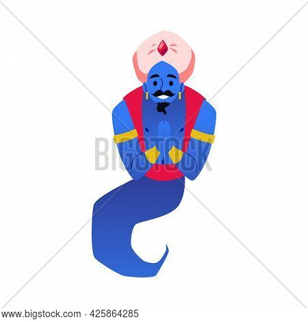 Fairy Tale Obliging Arabian Genie Character, Flat Vector Illustration Isolated.