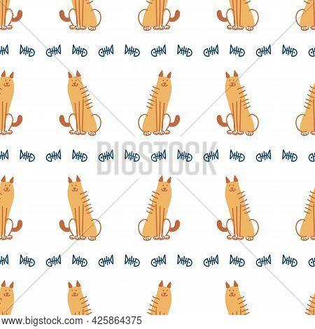 Seamless Cute Cartoon Pet Cat Doodle Pattern. Whimsical Minimal 2 Tone Gender Neutral Color. Kids Nu