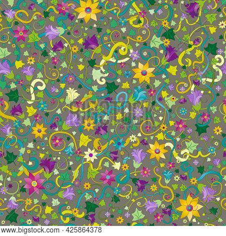 Weaving Plants And Flowers A Seamless Pattern