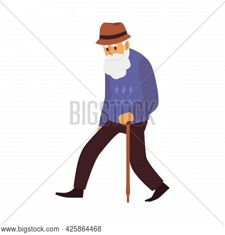 Tired Old Man, Elderly Male Character With Walking Stick A Vector Illustration