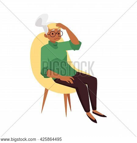 Elderly Exhausted Woman Tired Or Weak, Flat Vector Illustration Isolated.