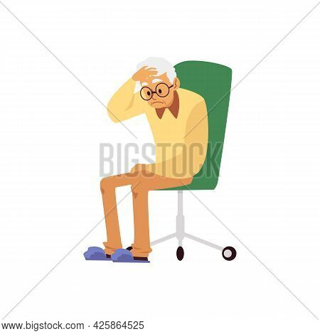 Tired Aged Man With Headache Sit On Chair A Flat Cartoon Vector Illustration.
