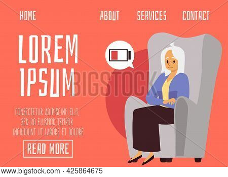 Web Page With Tired Exhausted Elderly Woman Resting, Flat Vector Illustration.
