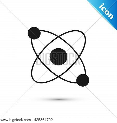 Grey Atom Icon Isolated On White Background. Symbol Of Science, Education, Nuclear Physics, Scientif