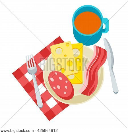 Breakfast Illustration. Tasty Bacon, Sausage And Cheese On Plate And Tea. Concept For Cafes, Restaur