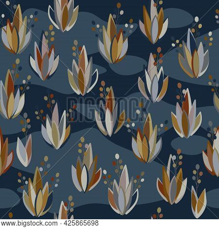 Plant Seamless Pattern. Bushes With Leaves And Inflorescences.
