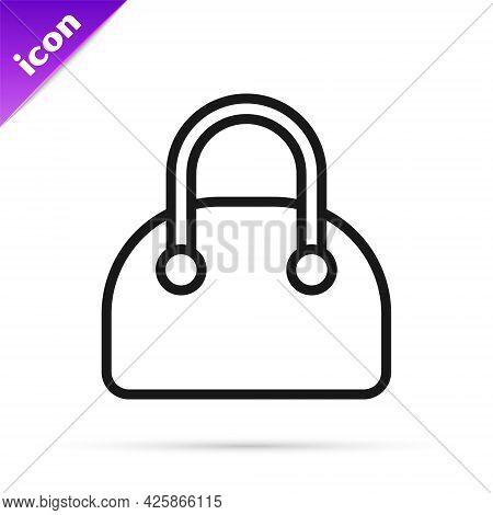 Black Line Handbag Icon Isolated On White Background. Female Handbag Sign. Glamour Casual Baggage Sy
