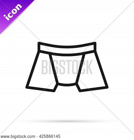 Black Line Men Underpants Icon Isolated On White Background. Man Underwear. Vector