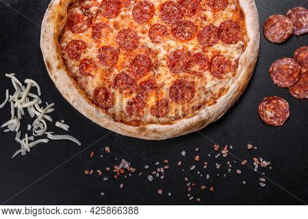 Pepperoni Pizza With Pizza Sauce, Mozzarella Cheese And Pepperoni