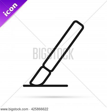 Black Line Medical Surgery Scalpel Tool Icon Isolated On White Background. Medical Instrument. Vecto