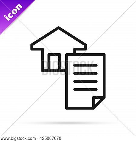 Black Line House Contract Icon Isolated On White Background. Contract Creation Service, Document For