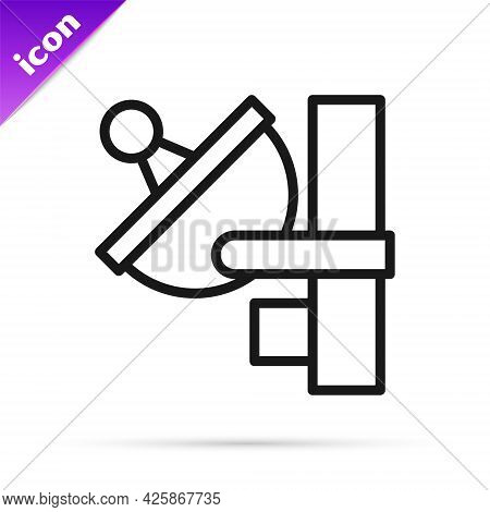 Black Line Radar Icon Isolated On White Background. Search System. Satellite Sign. Vector