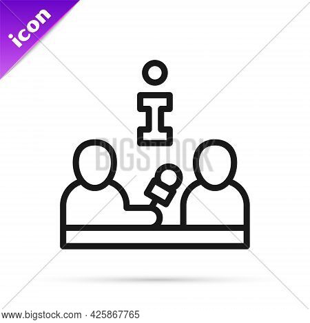 Black Line Interview With A Famous Person Icon Isolated On White Background. Television Or Internet