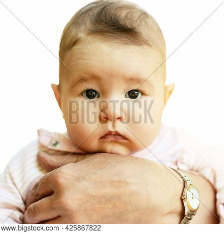 Newborn Baby Girl Supported By Grandparent, Portrait Of Infant Isolated On White Background. Small C