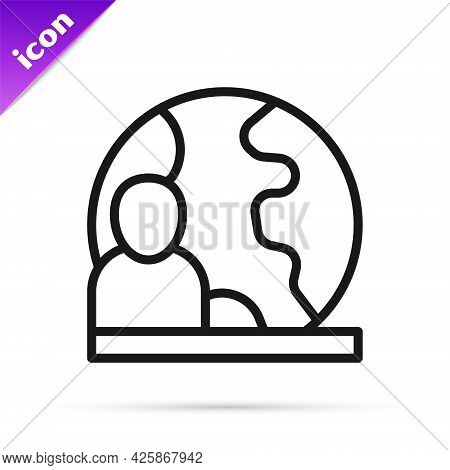Black Line World News Icon Isolated On White Background. Breaking News, World News Tv. Vector