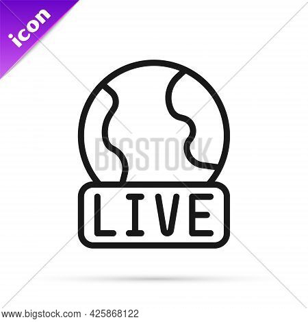 Black Line Live Report Icon Isolated On White Background. Live News, Hot News. Vector