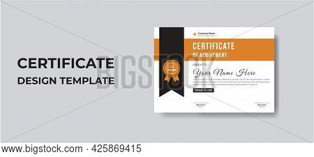 Modern Elegant Certificate Of Appreciation Template With Gold And Blue Color, Multipurpose, Simple A