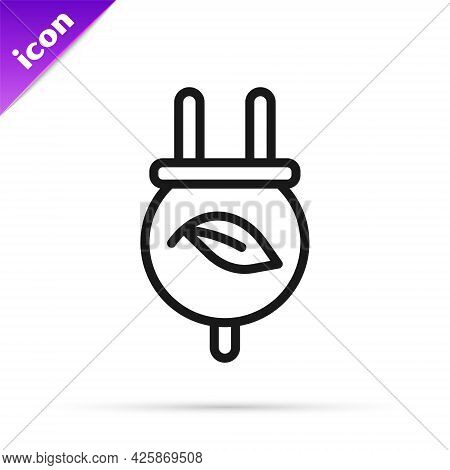 Black Line Electric Saving Plug In Leaf Icon Isolated On White Background. Save Energy Electricity.