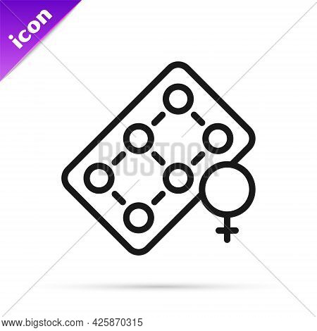 Black Line Packaging Of Birth Control Pills Icon Isolated On White Background. Contraceptive Pill. V