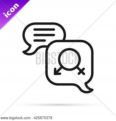 Black Line Gender Equality Icon Isolated On White Background. Equal Pay And Opportunity Business Con