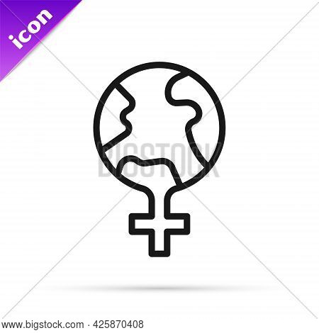 Black Line Feminism In The World Icon Isolated On White Background. Fight For Freedom, Independence,