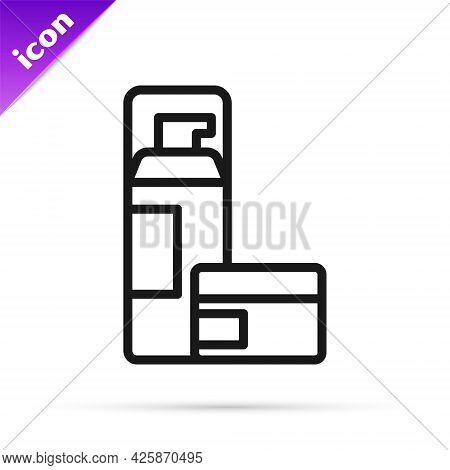 Black Line Shaving Gel Foam Icon Isolated On White Background. Shaving Cream. Vector