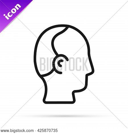 Black Line Baldness Icon Isolated On White Background. Alopecia. Vector