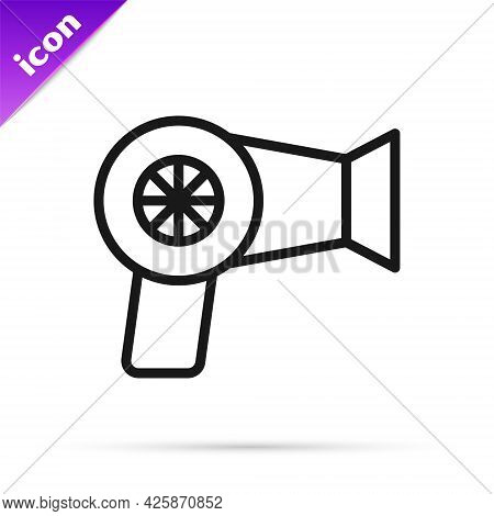Black Line Hair Dryer Icon Isolated On White Background. Hairdryer Sign. Hair Drying Symbol. Blowing