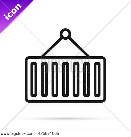 Black Line Container On Crane Icon Isolated On White Background. Crane Lifts A Container With Cargo.