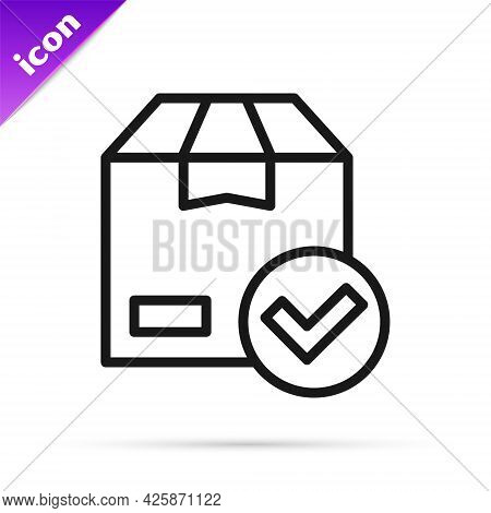 Black Line Package Box With Check Mark Icon Isolated On White Background. Parcel Box With Checkmark.