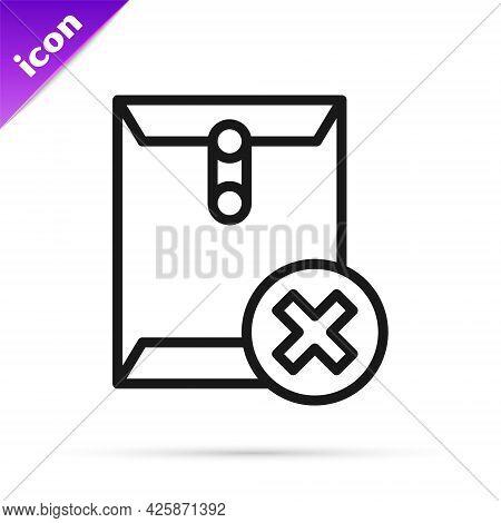 Black Line Delete Envelope Icon Isolated On White Background. Delete Or Error Letter. Cross On Messa