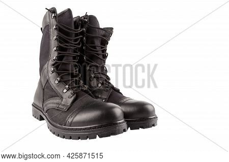Pair Of New Black Lightweight Military Boots Isolated On White Background