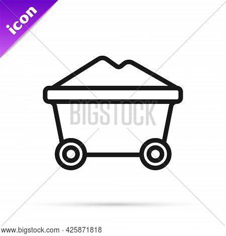 Black Line Coal Mine Trolley Icon Isolated On White Background. Factory Coal Mine Trolley. Vector