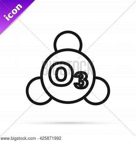 Black Line Ozone Molecule Icon Isolated On White Background. Ozone, O3, Trioxygen, Inorganic Molecul