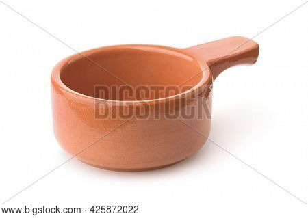 Single handle clay stew pot isolated on white