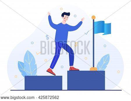 Concept Of Business Achievement, Achieved Goal, Successful Entrepreneur. A Joyful Businessman Goes U