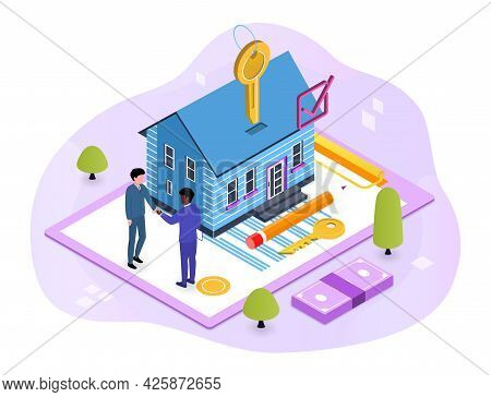 House Loan, Rent And Mortgage Concept. Character Buying Mortgage House And Shaking Hands With Real E