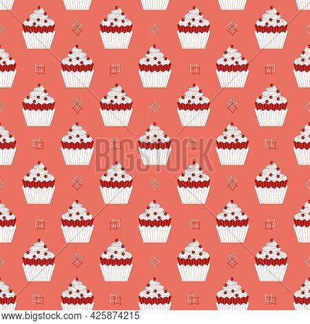 Cupcakes With Berries Minimalist Seamless Vector Pattern Background. Sweet Food Cartoon Design Eleme
