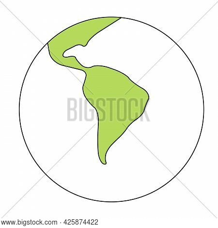 Simplified Outline Earth Globe With Map Of World Focused On South America. Vector Illustration.