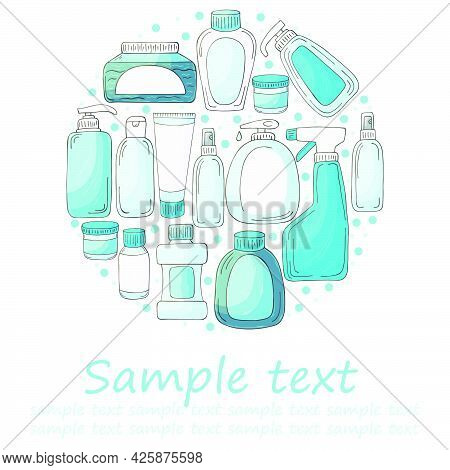 Round Vector Set Of Elements. Set Of Bathroom Elements In Hand Draw Style. Collection Of Packages, T