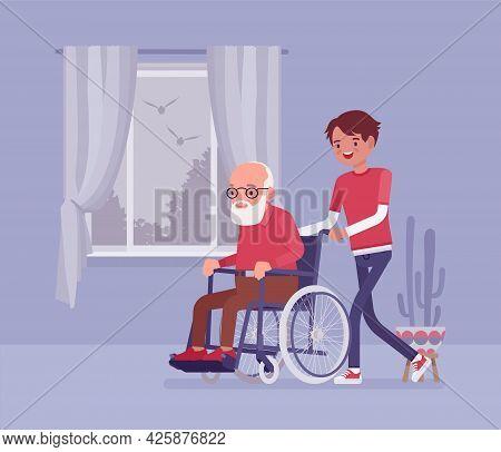 Wheelchair Senior, Aged Handicapped Man With Male Nurse At Home. Older Adult Care, Volunteer Nursing